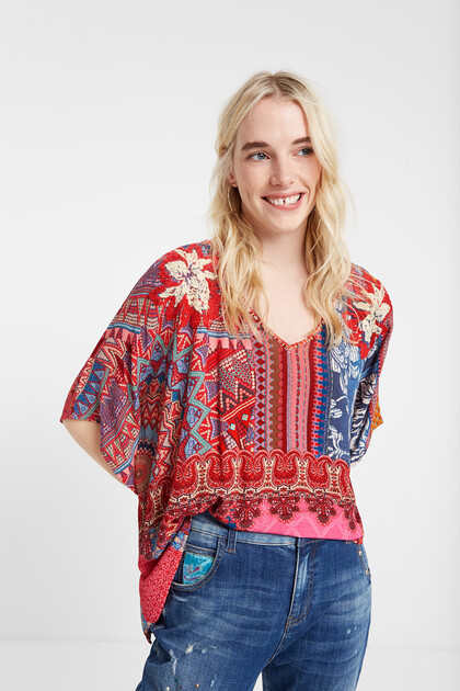 Boho floral batwing blouse