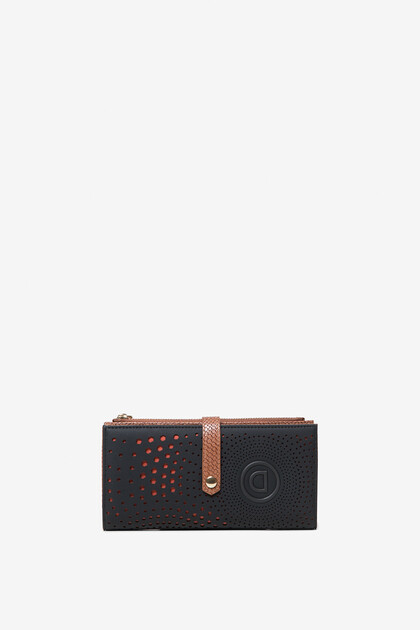 Coin wallet with logo and geometric spiral