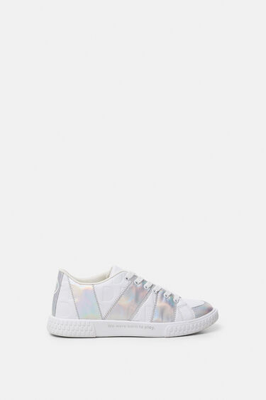 White sneakers iridescent strips | Desigual