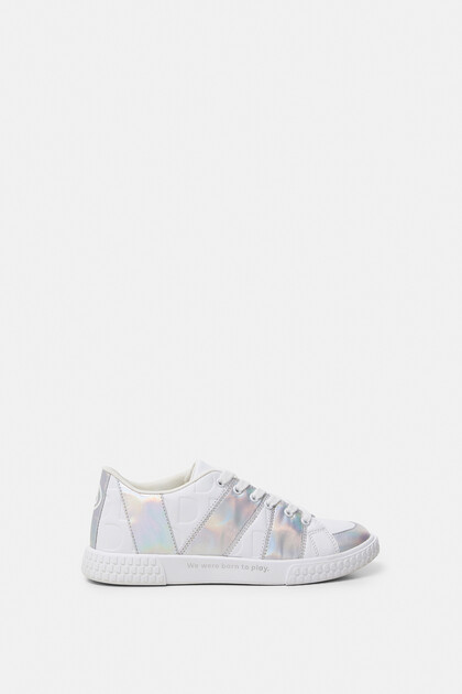 White sneakers iridescent strips