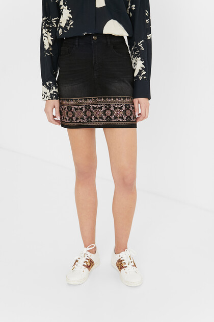Boho denim mini-skirt