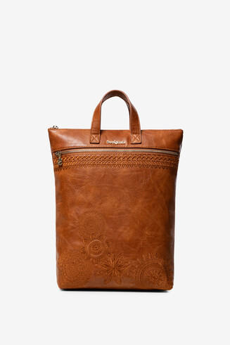 Brown Leather-Effect Backpack Baza