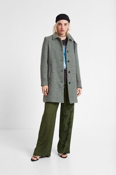 ジグザグデザイン 緑色ウール混紡コート | Desigual