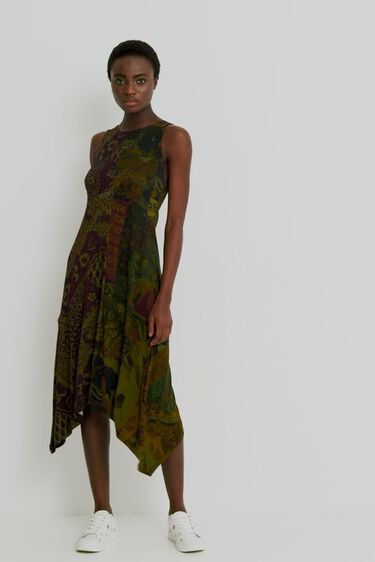 Long flared asymmetric dress | Desigual