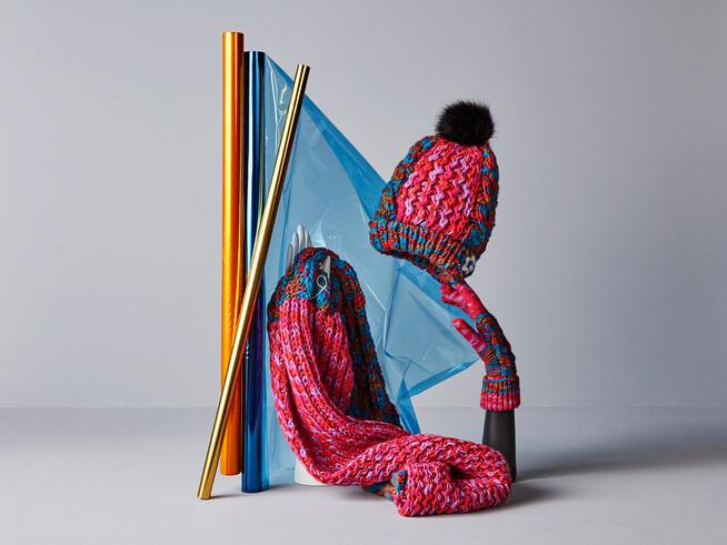 Ensemble bonnet, écharpe et gants