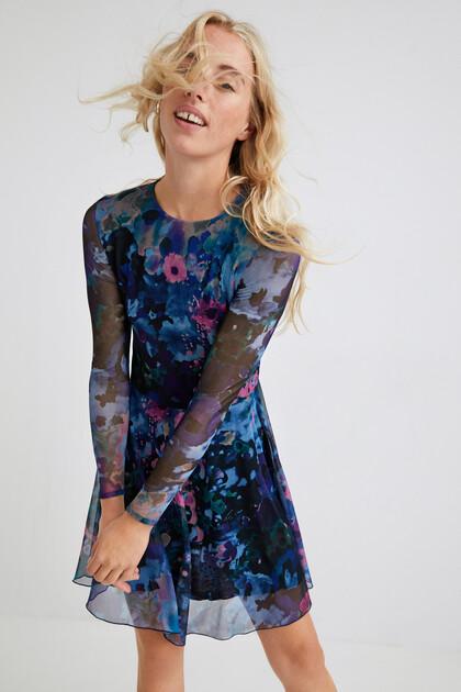 Short dress flared print