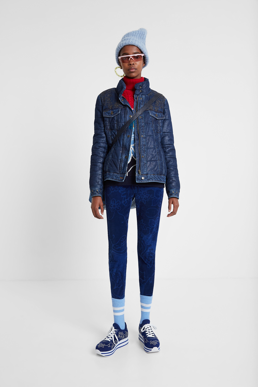 Padded short denim jacket - BLUE - 46