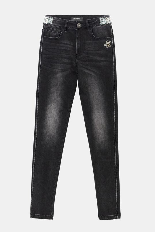 Pantaloni denim skinny con striscia laterale e dettaglio di paillettes | Desigual