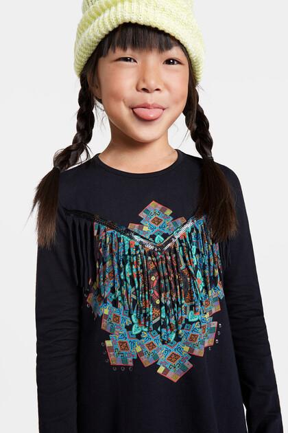 T-shirt met mandala en franjes