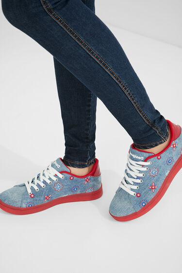 Denim sneakers red sole   Desigual