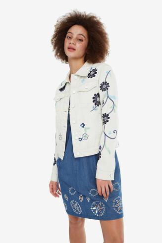 Floral Denim Jacket Blue Flower
