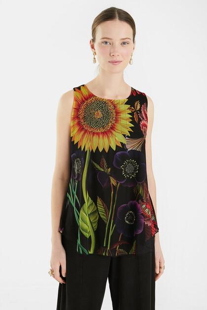 Sleeveless T-shirt floral