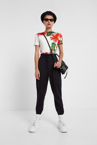 T-shirt slim fleuri