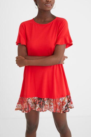 Wijd uitlopende T-shirtjurk met ruches onderaan | Desigual