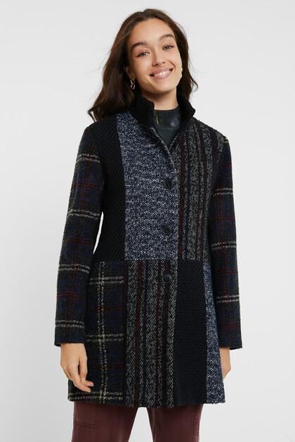 Tweed-Mantel im Slim Fit