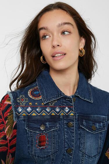 Bimaterial trucker jacket removable collar | Desigual