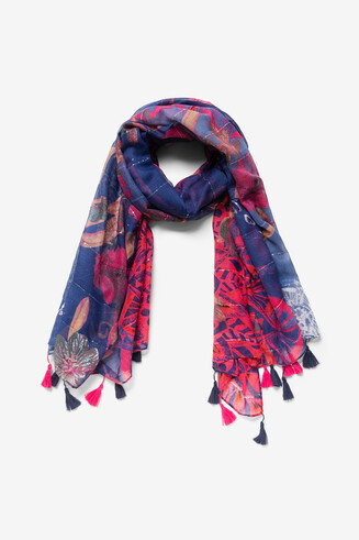 Galactic floral print rectangular scarf