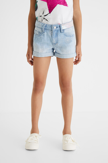 Denim shorts Swiss embroidery