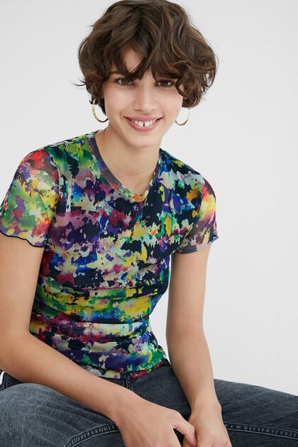 T-shirt slim tulle arty