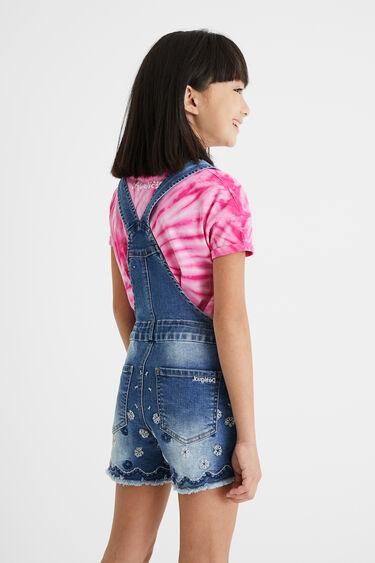Short embroidered denim overalls | Desigual