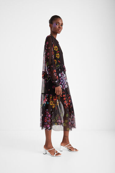 Long double layer dress with floral tulle   Desigual