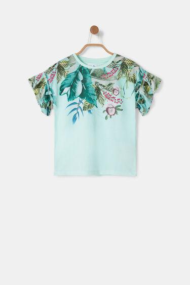 T-shirt met bloemenprint en mouwen met ruches | Desigual