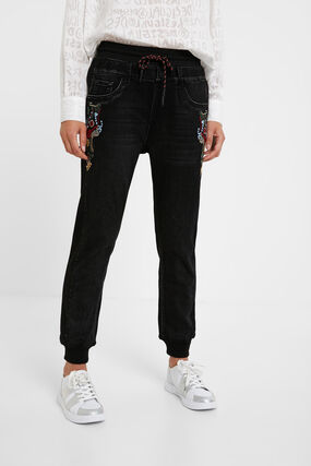 Denim cropped jogger trousers