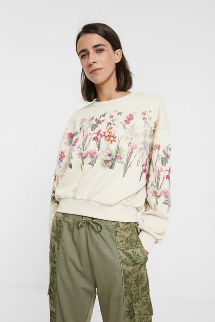 Plush floral sweatshirt