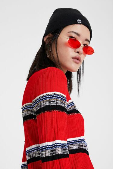 Striped jumper and rhinestones   Desigual
