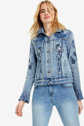 Jeansjacke mit Volants Burns