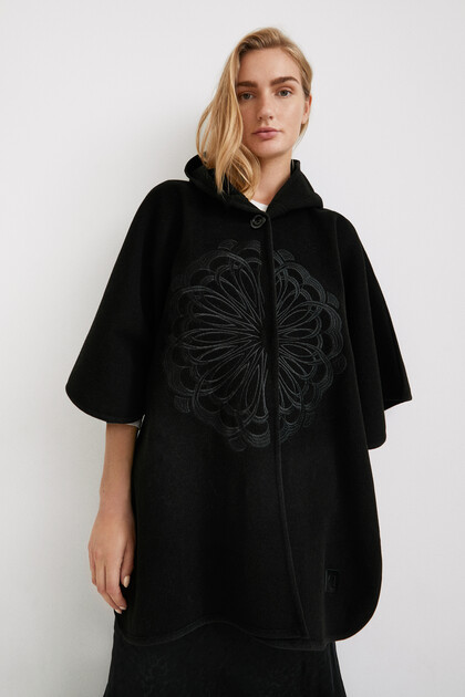 Embroidered poncho with hood