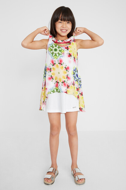 Short print dress layers