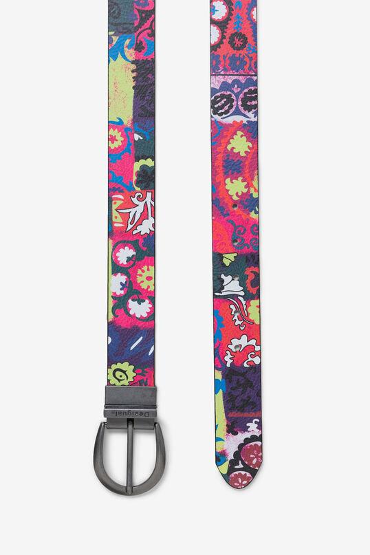 Cinturó reversible flors logomania   Desigual