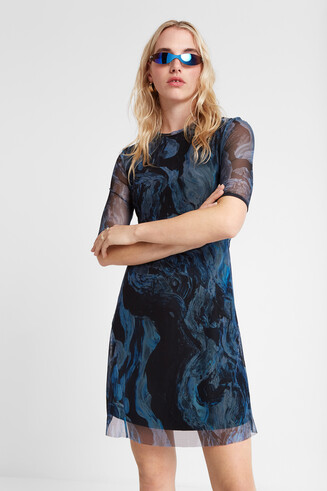 3D effect marbled dress