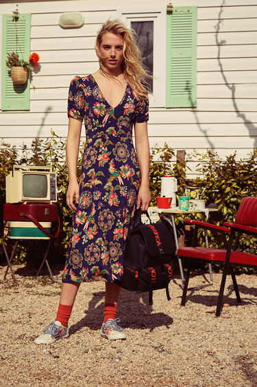 Floral flared dress with lapels   Desigual