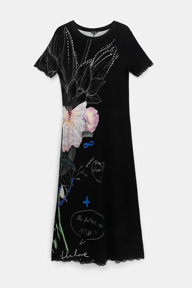 Long dress lace embellishments | Desigual
