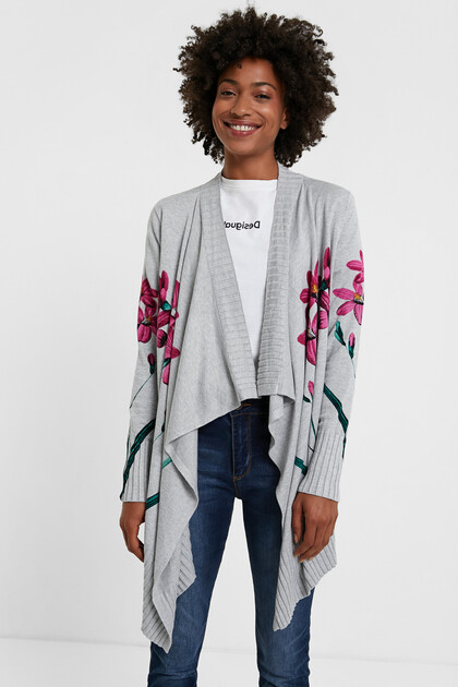 Open tricot jumper asymmetric hem