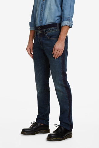 Straight double waist denim trousers