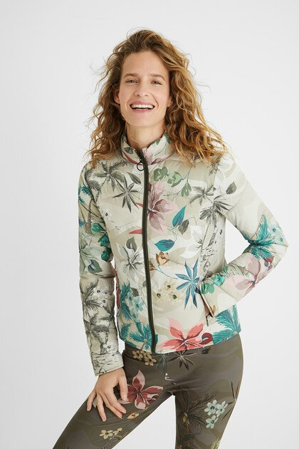 Short padded print jacket