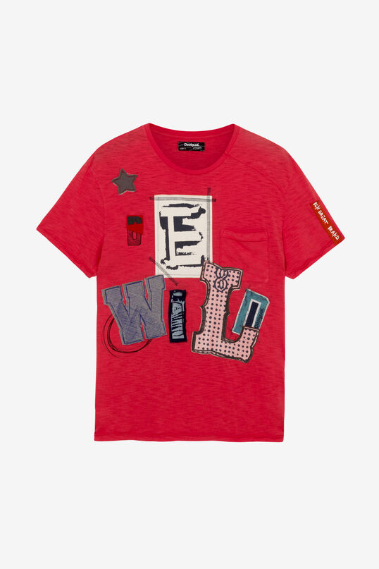 Red T-shirt with Patches Lolo | Desigual