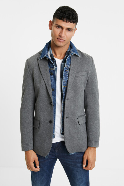 Bimaterial blazer removable collar
