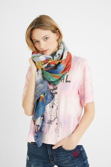 Foulard rectangular patch tropical | Desigual