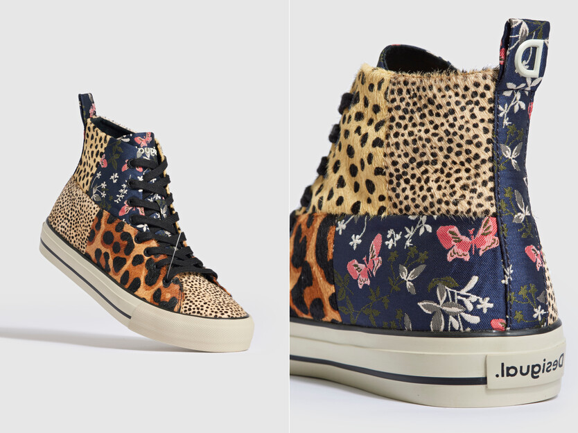 High-top sneakers patch fur