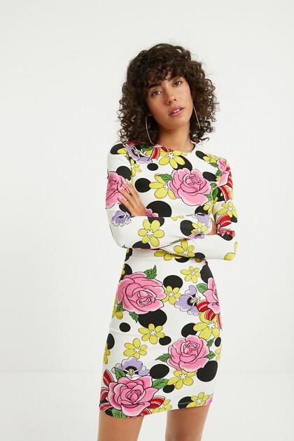 Vestido corto elástico flores