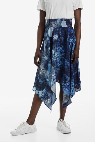 Asymmetric hanky-hem skirt