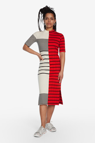 Striped T-shirt midi-dress