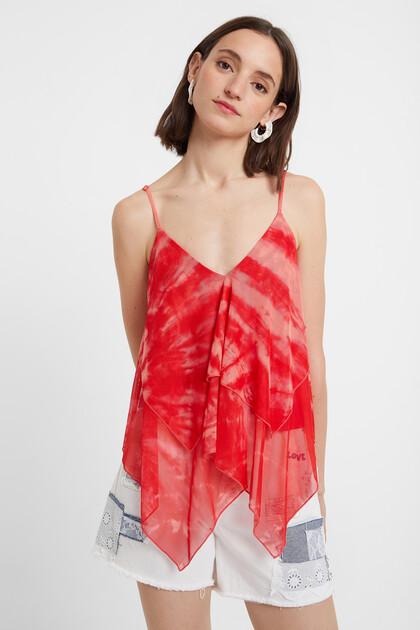 Strappy tie-dye top