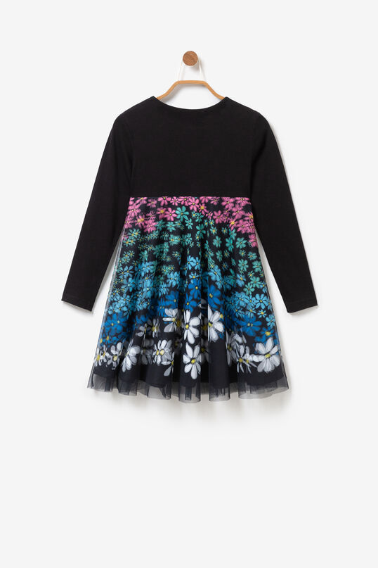 Flared dress multicolour floral gauze layer | Desigual
