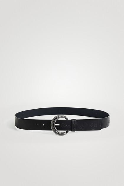 Basic embossed leather belt