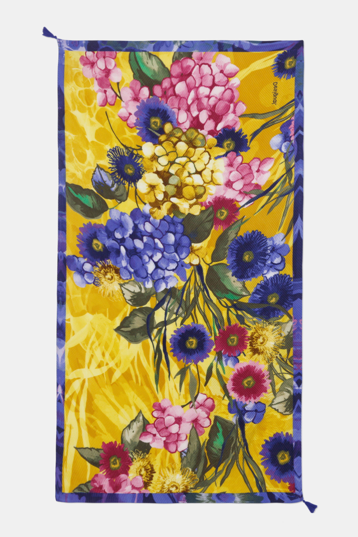 Foulard rectangulaire fleurs - YELLOW - U
